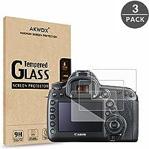 AKWOX (پکیج 3) محافظ صفحه نمایش شیشه ای مخصوص Canon EOS 5D MK IV Mark 4، [0.3mm 2.5D High Definition 9H] پوشش محافظ LCD Premium LCD Premium