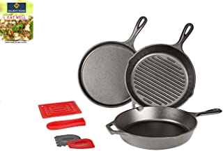 Lodge 10.5 Inch Cast Iron Griddle, Grill Pan and Essential Skillet Set, Pre Seasoned, Ready to Use Round Cookware Perfect for Pancakes, Pizzas and Quesadillas, Bundle Includes Salient Home Cookbook