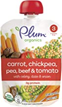 Plum Organics Stage 3, Organic Baby Food, Carrot, Chickpea, Pea, Beef and Tomato, 4 ounce pouches (Pack of 12) (Packaging May Vary)