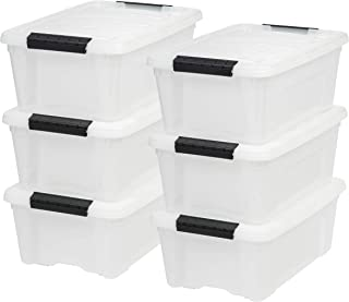 IRIS USA, Inc TB-42 12 Quart Stack & Pull Box, Multi-purpose Storage Bin, 6 Pack, Pearl