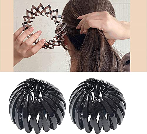 popular 2 sale Packs Ponytail Holder Hair Clips Hair Claw Clamps Hair Accessory Expandable Bird Nest Hair Clip for outlet online sale Women Girls online