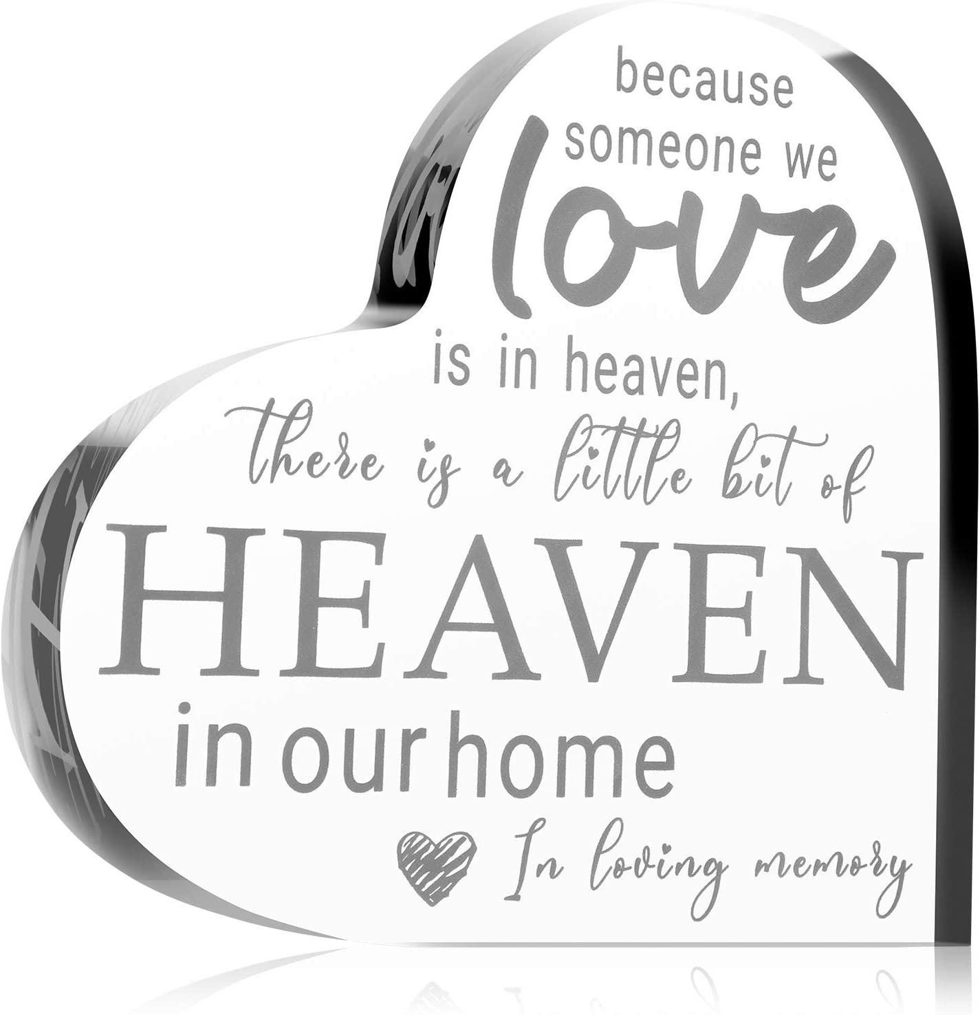 Sympathy Gifts Memorial Bereavement Gifts Crystal Glass Heart Condolence Gifts for Loss of Loved One, Loss of Father, Loss of Mother Remembrance Gifts (White)