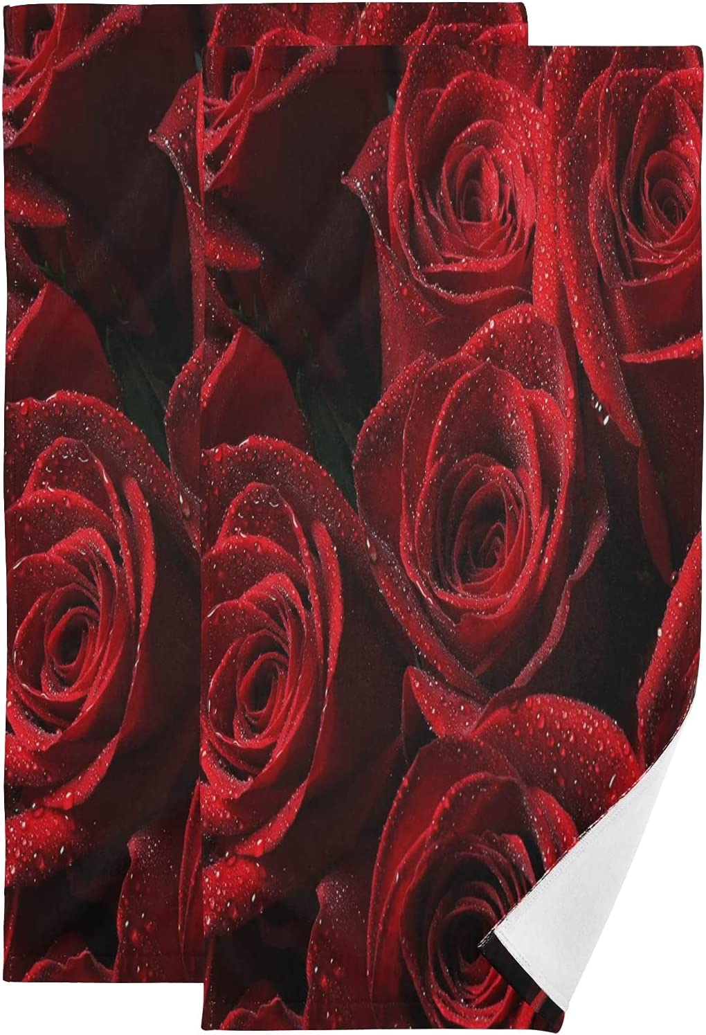ALAZA Red Rose Hand Towels Bath Soft Ranking TOP10 Decorative Absorbent store