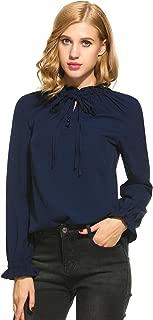 Women's Lace-up Collar Lotus Ruffle Shirts Puff Sleeves Chiffon Blouse