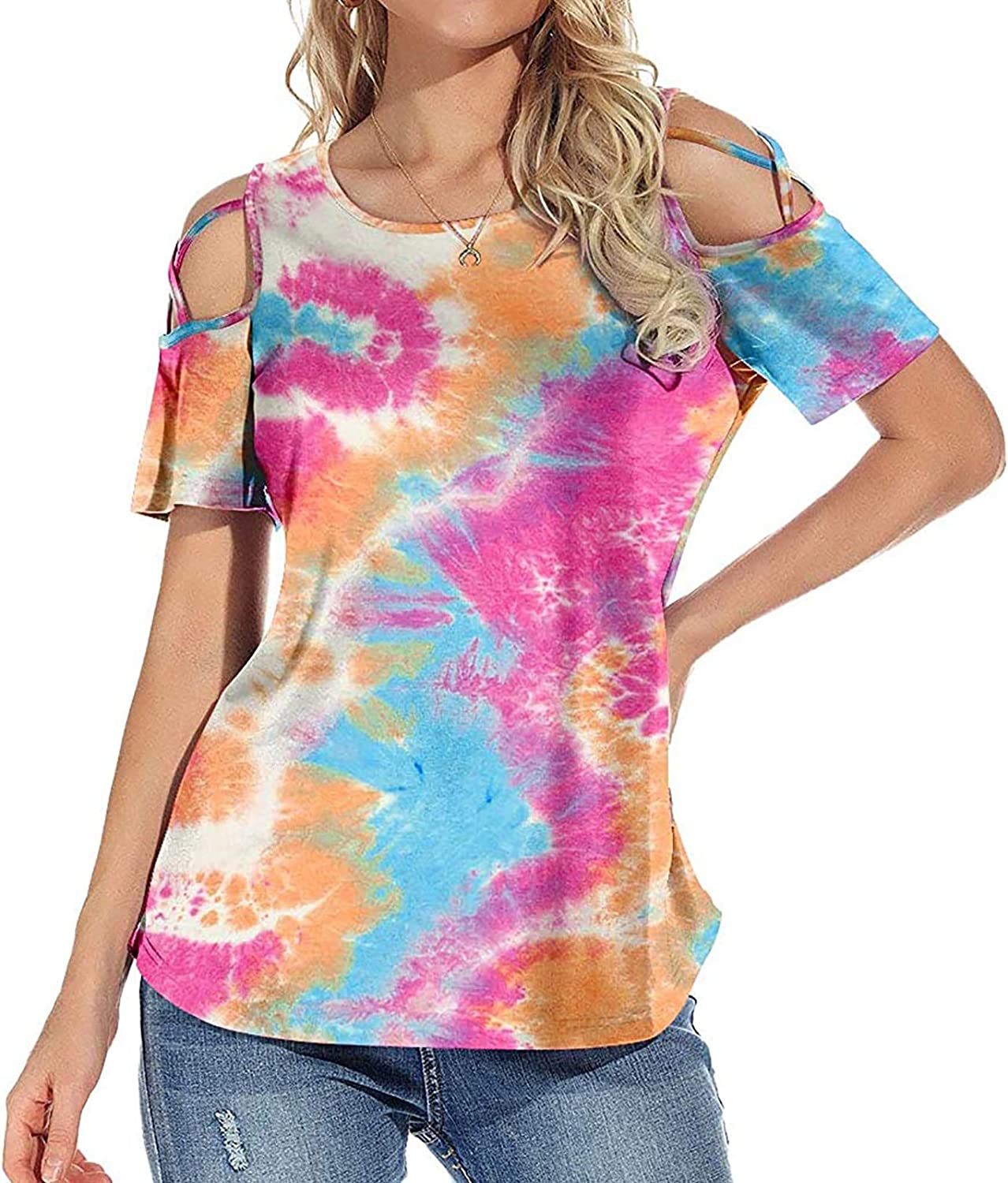 Bare Shoulder T-Shirts for Womens Leopard Frinted Elegant Tops Short Sleeve Graphic Tees Hollow Out Shirts O-Neck Blouse
