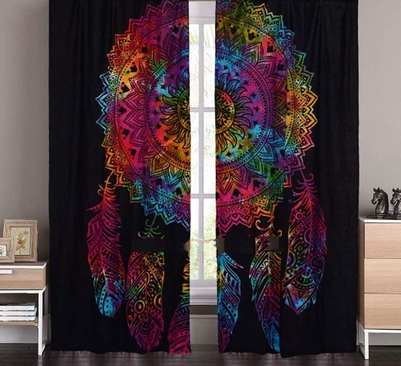 DIYANA IMPEX Indian Mandala Curtain Kitchen Window Curtains Curtain & Valance Set Dorm Tapestry,Indian Drape Balcony Room Decor Curtain Boho Set Hippie Curtain Panel (Black)