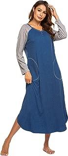 Ekouaer Women's Striped Nightgown,Long Loungewear Nightshirt Sleepwear with Pocket