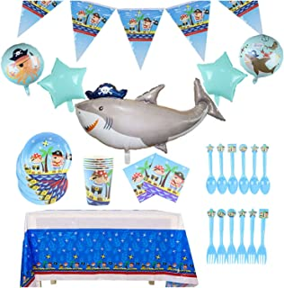 Party Tableware 41pcs Pirate Theme Tableware Sets Plate Napkins Banner Balloon Birthday Baby Shower Party Decor Supplies (...