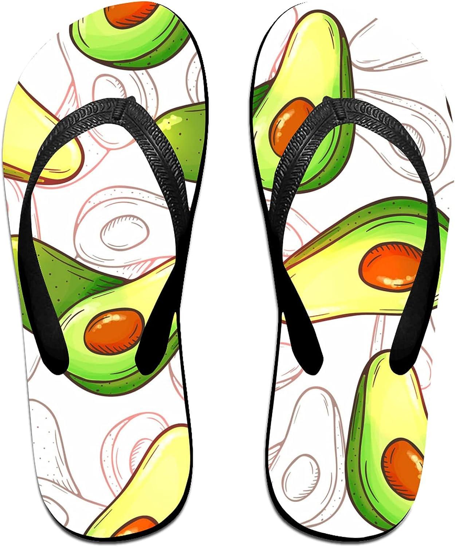 Hand drawn Green Avocado Flip-Flop Sandals for Summer Beach, Slippers for Men Women