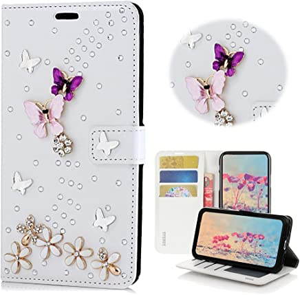 STENES iPhone 6S Plus Case - Stylish - 3D Handmade Bling Crystal S-Link Butterfly Floral Wallet Credit Card Slots Fold Stand Leather Cover Case for iPhone 6 Plus/iPhone 6S Plus - White