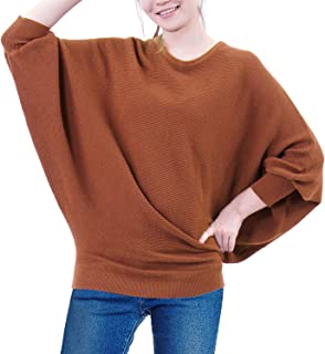 Amrto Casual Knitted Womens Sweaters Batwing Sleeve Winter Pullover Tops