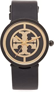 Tory Burch Women's The Reva Leather Watch, Black/Gold, One Size