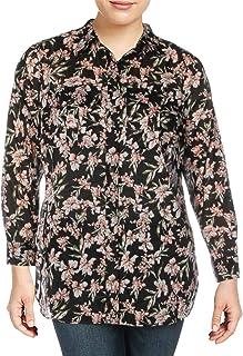 LAUREN RALPH LAUREN Womens Plus Cotton Floral Button-Down Top