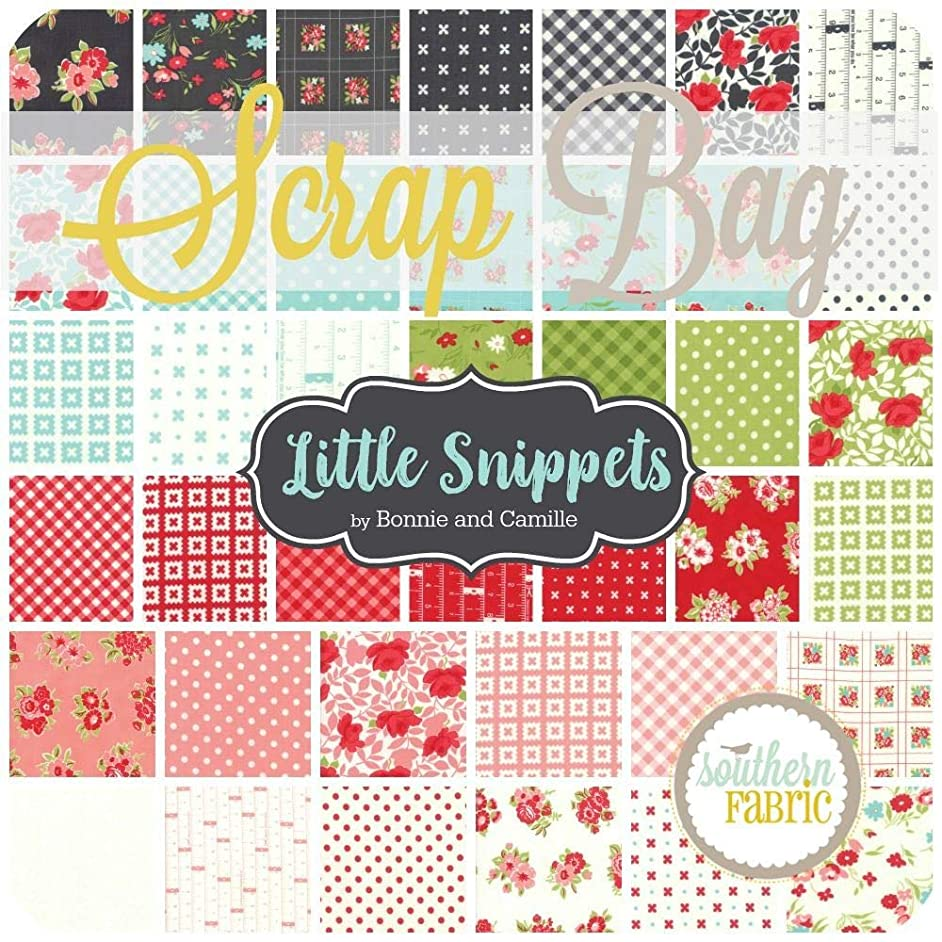 United Notions Little Snippets Scrap Bag (Approx 2 Yards) by Bonnie and Camille for Moda 2 Yards of Fabric (at Least 8 Pieces) 2 to 17 inch Strips DIY Quilt Fabric