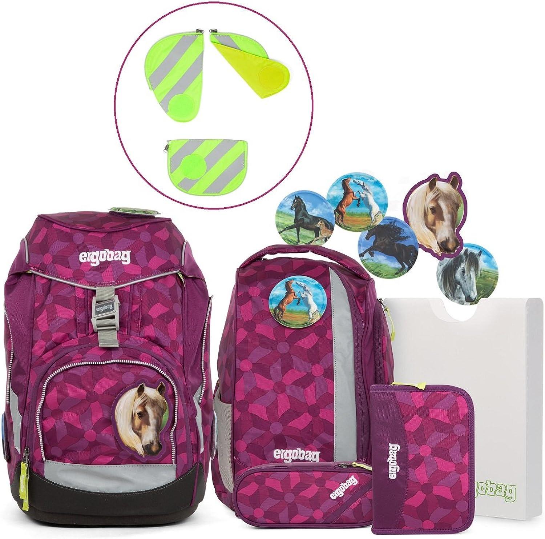 Ergobag pack-Set Ranzenset 6-tlg. inklusive Sicherheitsset mit Reflektorstreifen 3tlg. NachtschwrmBr