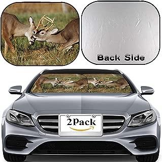 MSD Car Windshield Sun Shade, Universal Fit 2-Piece Foldable Car Sunshade, Block Sun Glare, UV and Heat, Sun Visor,A Pair of White Tailed Deer Bucks Sparring Image ID 17732226
