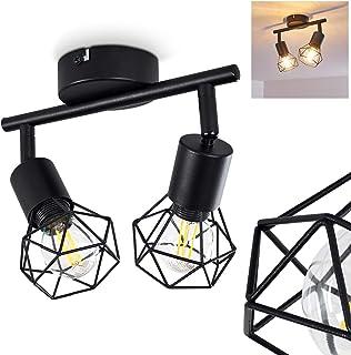 Plafón Baripada de metal negro, 2 focos de techo giratorios de estilo retro industrial, ideal para sala de estar vintage, para 2 bombillas E14 máx. 40 W, compatible con bombillas LED