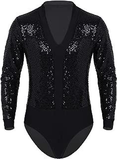 ranrann Mens Shiny Sequins Bodysuit Tank Leotard Long Sleeves V Neck Gymnastic Unitard Modern Dance Costumes
