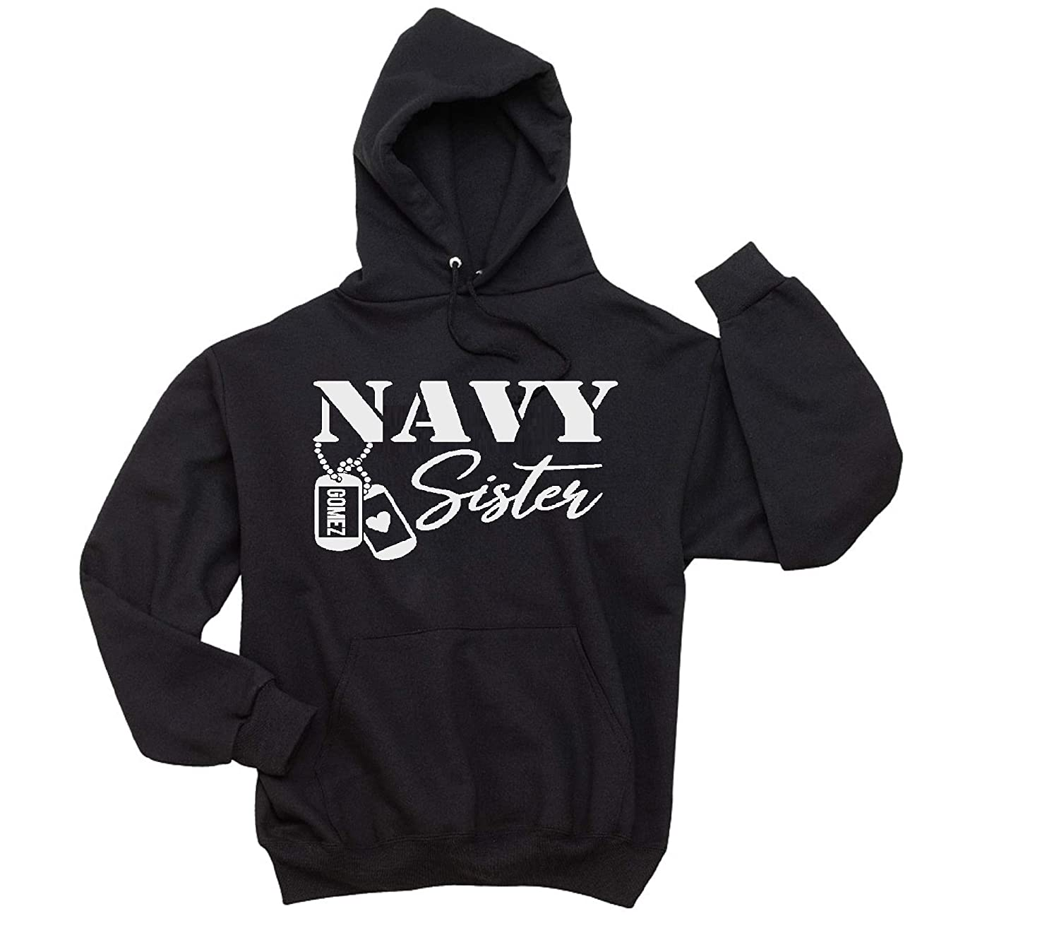 Navy Sister Free Long-awaited Shipping Cheap Bargain Gift Personalized Dog Unisex Hooded Tag Sweatshirt