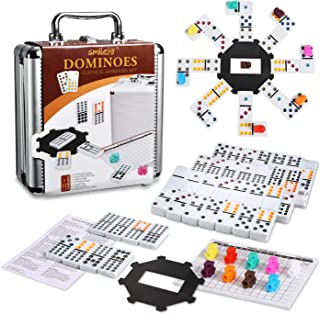 Smilejoy Mexican Train Dominoes,Dominoes Set Double 12 Colored Dot Dominoes with Aluminum Case Mexican Train Game Set, 91 ...