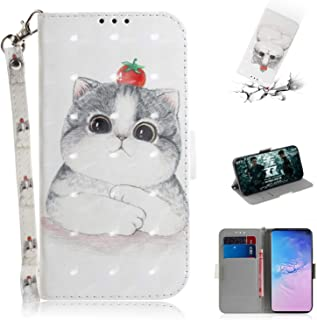 Strap 3D Wallet Case for Samsung Galaxy S10,Aoucase Ultra Slim Fancy Painted Magnetic Soft Silicone Card Slot Stand PU Leather Case with Black Dual-use Stylus - Clever Cat