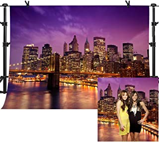 MME 10x7Ft New York City Background Beautiful Brooklyn Bridge Night Seamless Vinyl Background Video Studio Photograph Backdrop LXME599