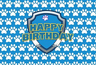NIVIUS PHOTO W 2282 Fotohintergrund mit Hundepfoten Motiv, für Geburtstagsparty, Wanddekoration, Cartoon Schild, Hintergrund, Blau