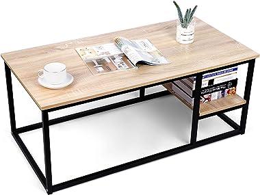 amzdeal Table Basse de Salon avec Etagère,Table de Salon en Bois Moderne avec Rangement, 102L×50W×40H cm,Table Rectangulaire