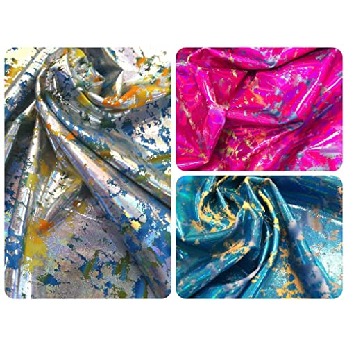 9ae1496673 Illusion Splash Shiny Iridescent Foil on Heavy Stretch Knit Jersey  Polyester Spandex Fabric By the Yard