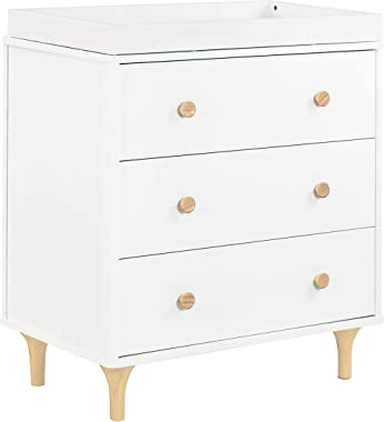 Babyletto Lolly 3-Drawer Changer Dresser with Removable Changing Tray in White / Natural
