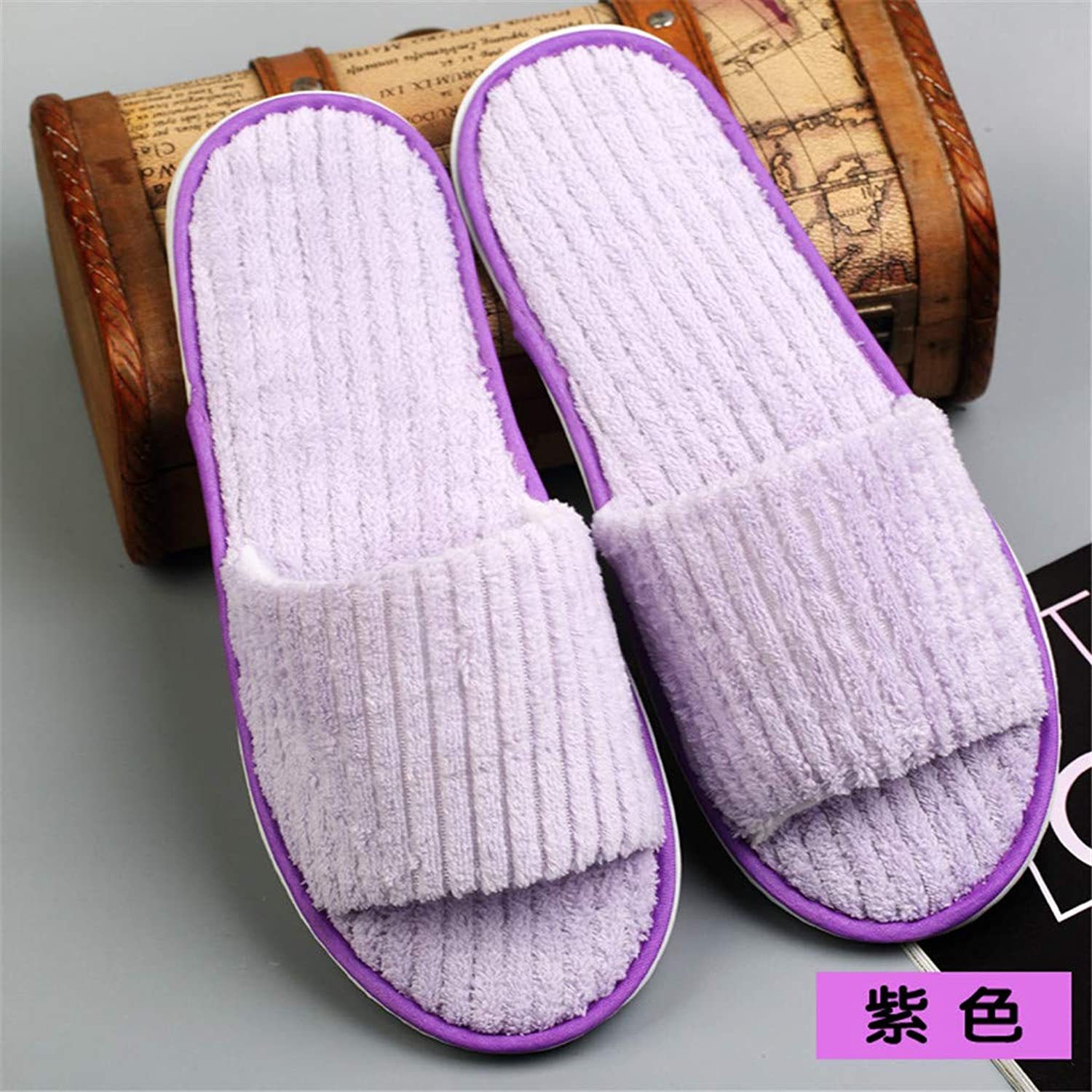 10 Pairs Coral Fleece Open Toe Slippers for Spa, Party Guest, Hotel and Travel, Washable and Non-Disposable, Easily Foldable and Portable,H