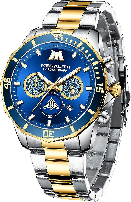 MEGALITH Relojes Hombre Acero Inoxidable Cronógrafo Impermeable Relojes Grandes Hombre Business Deportivo Elegante Analogico Reloj de Pulsera Luminosa Fecha