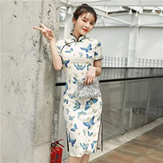 Spring And Summer New Imitation Silk Butterfly Double-layer Mid-length Cheongsam Fashion Slim Slimming Improved Front Spli...