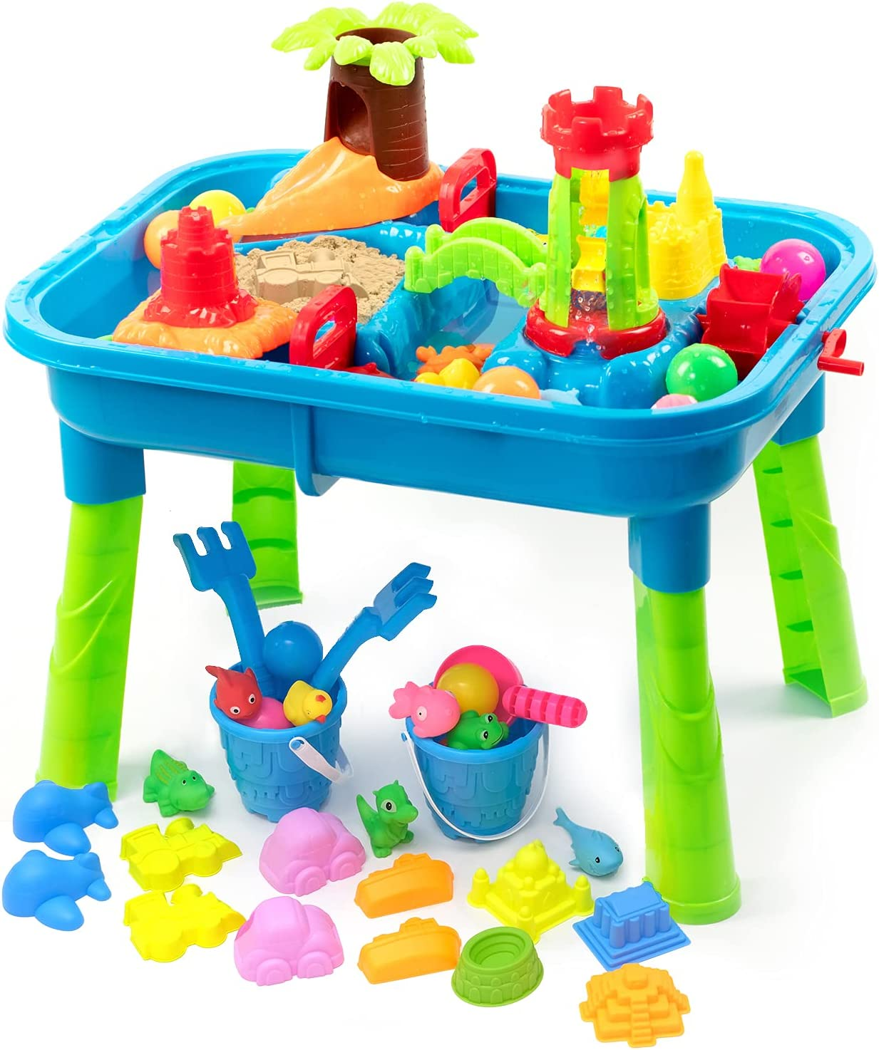 BFUNTOYS Water Table for Toddlers, Kids Play Sand & Water Table 2 in 1 Summer Beach Toys for Outside & Outdoor Activity, Birthday for Boys Girls Children (2021 Deluxe Version 57 Pcs)