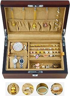صندوق مجوهرات من المجوهرات المكتبية مجموعة صندوق قلادة سوار تخزين صندوق أدوات التجميل إكسسوارات الطاولة (اللون: بني، المقا...