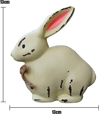 SEASONBLOW Easter Bunny Figurine Decoration Spring Vintage Rustic Farmhouse Bunnies Rabbit Figurine Statue Home Decor Table Centerpiece Mantels Ornament