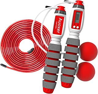 Auoxer Jump Rope, Electronic Counting Skipping Rope, Adjustable Transparent Steel Rope, Cals, Miles, Km, Count Function, Cordless Long Rope Dual-use Models