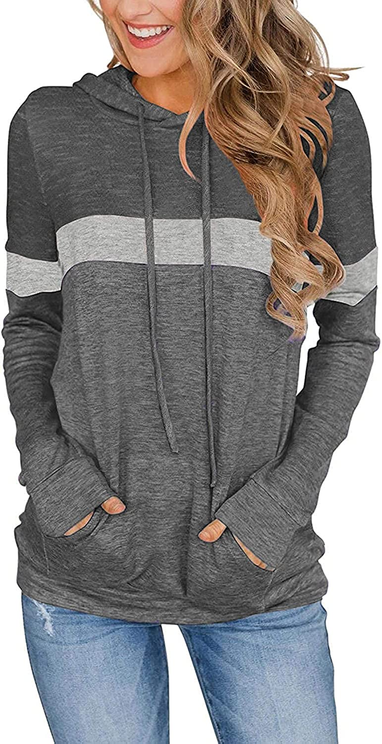 Women casual Color Block Hoodies Long Sleeve Pullover Tunic Tops Drawstring Lightweight Sweatshirts With Pockets