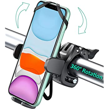 Bovon Bike Phone Mount with 360 Rotation, Universal Adjustable Motorcycle Phone Mount Compatible with iPhone 12 Pro Max/12/12 mini/SE/11 Pro Max/11 Pro/11/XS Max/XR/8, Samsung S20