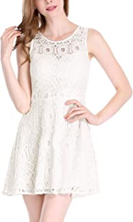 Women's Floral Lace Sleeveless Crew Neck Flare A-Line Mini Dress