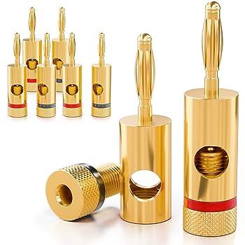 deleyCON 8x Banana Plug 24K Placcato oro 24K e Avvitabile per Decoder AV-Recevitore Amplificatori di Potenza Impianti Stereo HiFi