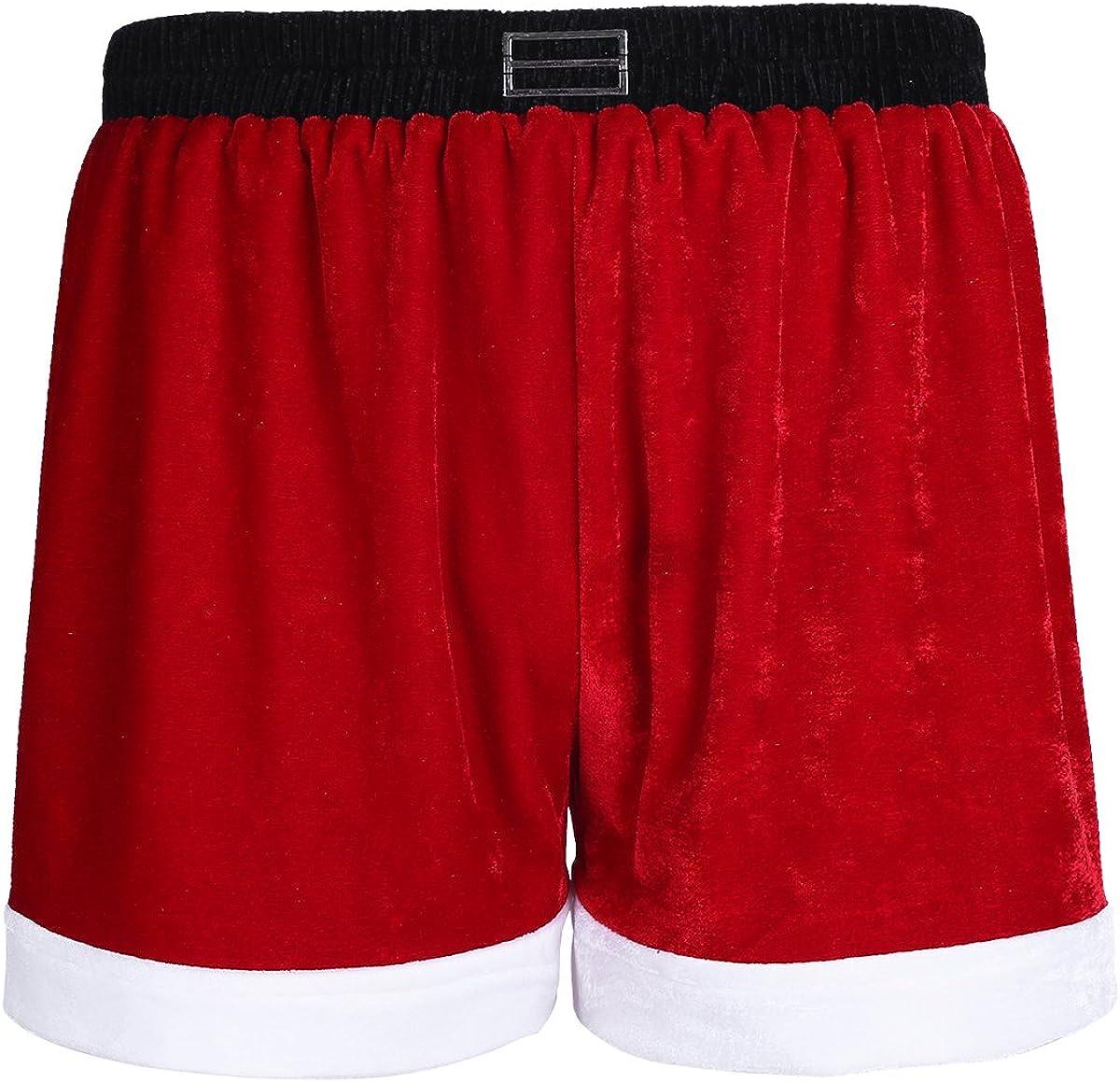 Nimiya Men's Red Velvet Christmas Popular product Santa Boxer Brie Max 70% OFF Claus Holiday