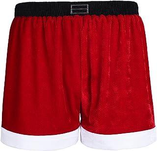 TiaoBug Men's Flannel Christmas Santa Claus Costume Holiday Boxer Shorts
