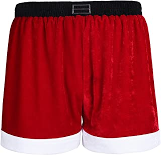 Christmas Holiday Mens Boxer Shorts Flannel Christmas Santa Claus Boxers