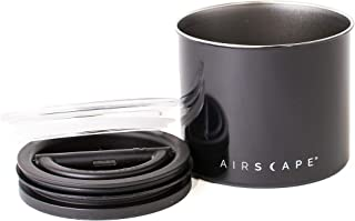 Airscape Coffee and Food Storage Canister - Patented Airtight Lid Preserve Food Freshness, Stainless Steel Food Container, Obsidian Black, Small 4-Inch Can