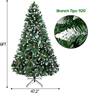 onEveryBaby Christmas Tree 6FT 920 Branches Flocking Spray White Tree Plus Pine Cone (YJ)