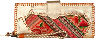 Leather Women's Wallet with Embroidered Hmong, Ethnic Boho Wallet