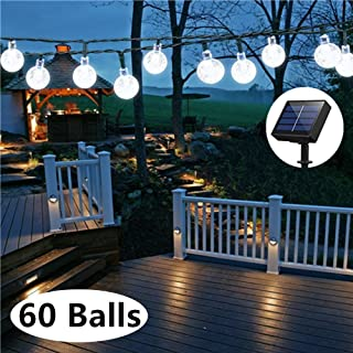 Solar Globe String Lights, 33 Feet 60 Crystal Balls Waterproof LED Fairy Lights, 8 Modes Outdoor Starry Lights Solar Powered String Lights for Home, Garden, Yard Party Wedding (Cool White)