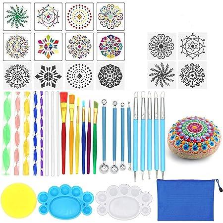 36 TLG Mandala Punktierung Werkzeuge Set Mandala Dotting Tools Kits B-36tlg Punktierung Stifte Pinsel Mandala Schablone Ball Stylus Malen Tablett f/ür Malerei Felsen Zeichnung Ausarbeitung