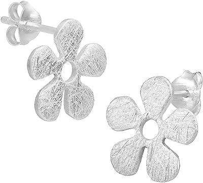 Vinani Orecchini Design Fiore Piccolo–spazzolato–argento sterling 925orecchini fiore 2ooo